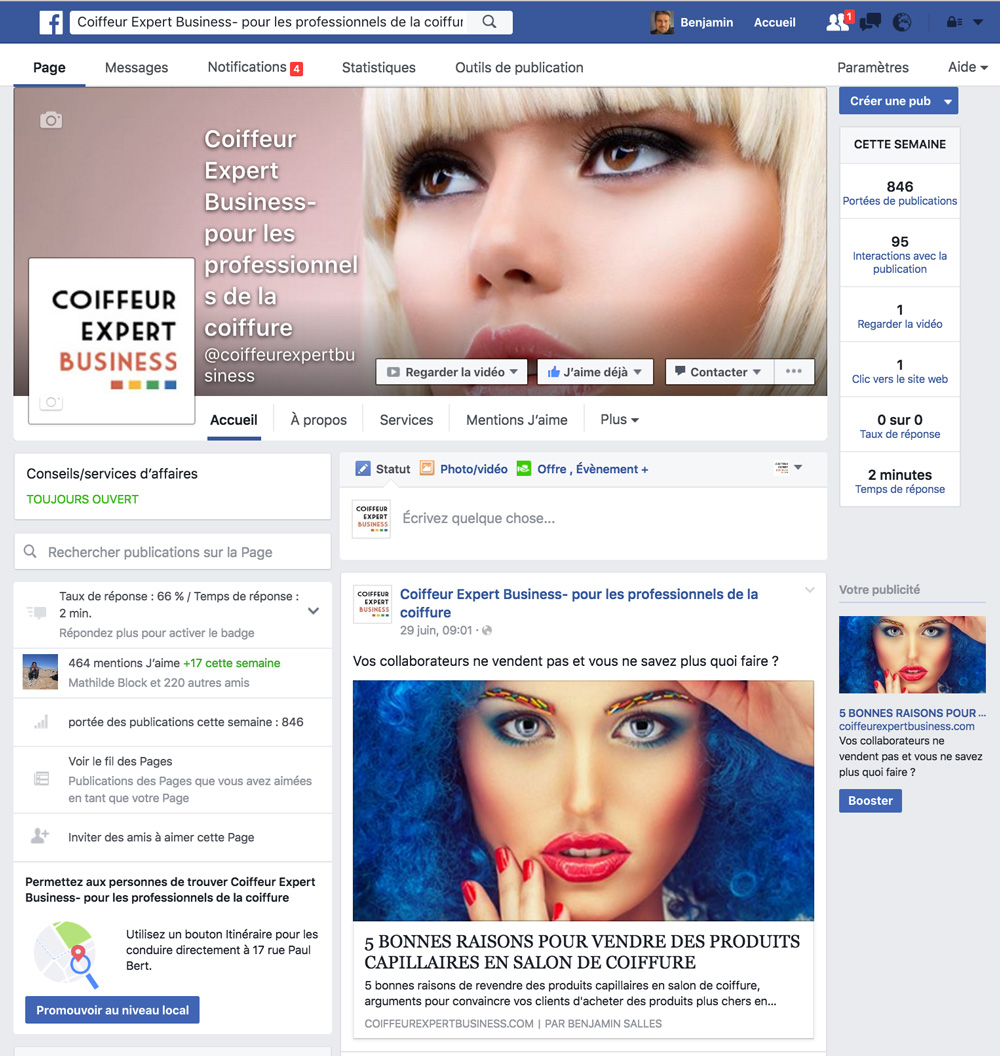 page pro coiffeur expert business